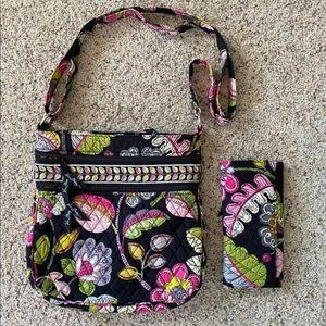 Vera Bradley black floral bag with matching wallet